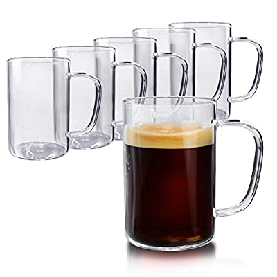 Schliersee Glass Coffee Mugs Set of 6, for Tea Juice Beer Water Cups for Hot or Cold Beverages 10 Ounce (300 ml)
