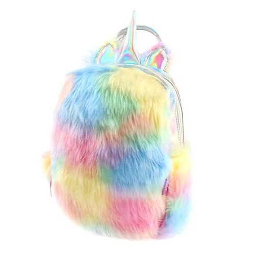 Cute Plush Unicorn Backpack,Fluffy Mini Unicorn Backpack Bags for Girls Female Travel Plush Soft Rainbow Schoolbag (Colour 1)