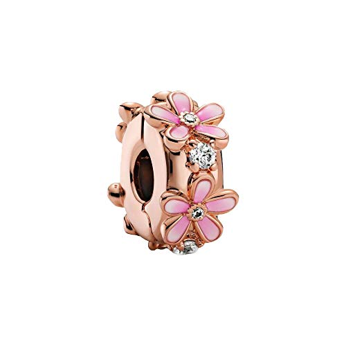 Pandora 14K Rose Gold Plated Alloy Pink Daisy Intermediate Element with Cubic Zirconia 788809C01