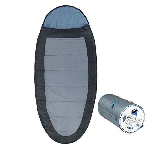 10T Schlafsack TARA -13° warm weich 1900g XXL Ei-Form Mumienschlafsack 220x100 Grau / Blau