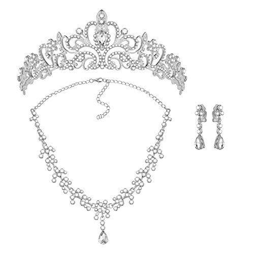 ROSENICE Diadème Collier Boucles d'oreilles en Cristal Strass pour Mariée Soirée Argent