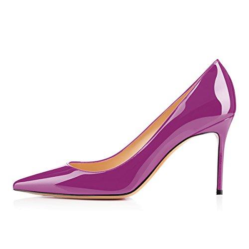 Soireelady Damen Fashion Pumps,Hohe Absätze mit Geschlossener Spitze,Comfort Pumps Lack Lila Größe 44