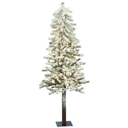 Vickerman 5' Flocked Alpine Artificial Christmas Tree with 150 Clear Lights