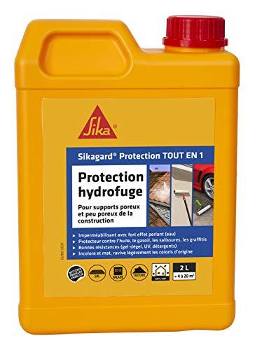 Sikagard Protection Tout en 1, Protection hydrofuge façade, mur, toiture et sol pour matériaux poreux et peu poreux intérieur et extérieur, 2L