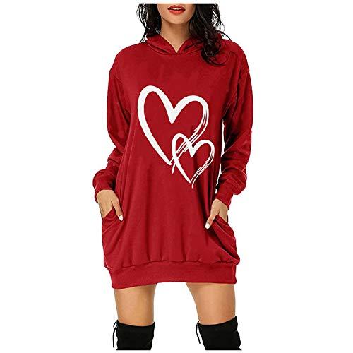 AILIEE Dames kersttrui dubbele liefde bedrukt met capuchon zak jurk overall Kerstmis sweater pullover ronde hals