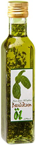 Basilikum Öl aus dem Allgäu - 250ml Olivenöl mit intesivem Basilikum Aroma