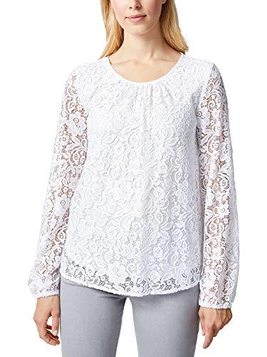 Walbusch Damen Bluse mit Spitze einfarbig Weiß 38 - Langarm