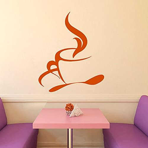 Jsnzff DIY calcomanía de Pared café Caliente Cuchara de té Cocina café diseño de Interiores casa Pared Pegatina Vinilo Arte Mural niños habitación decoración 66x49cm