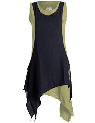 Vishes - Alternative Bekleidung - Ärmelloses Zipfeliges Lagenlook Kleid/Tunika aus handgewebter Baumwolle Olive-schwarz 40