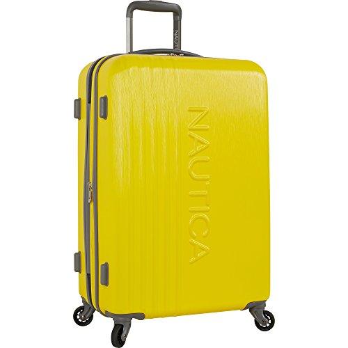 Nautica Ahoy Hardside Expandable 4-Wheeled Luggage-24 Inch Checked Size, Yellow/Grey
