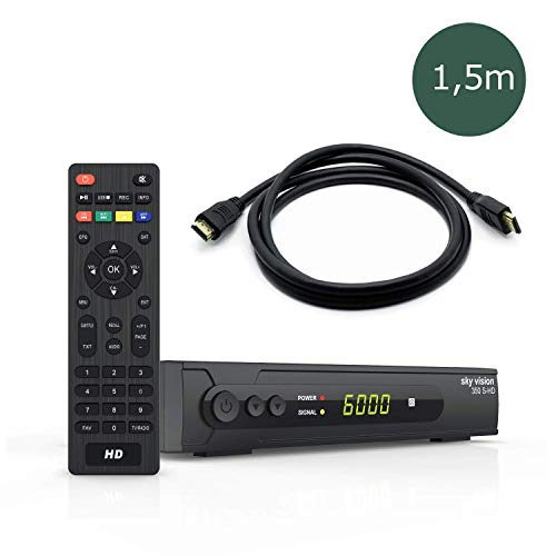 sky vision HD SAT Receiver 350 S-HD + 1,5m HDMI Kabel - Digitaler Satelliten Receiver HD (DVB S2 Receiver), HDMI Receiver für Sat, HD Satellitenreceiver für SAT-HDTV, Sat Receiver HDMI & SCART