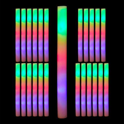 Relaxdays 24 x Leuchtstab LED, Bunte Blinkstäbe, Leuchten in 3 Modi, aus Schaumstoff, Batterien inklusive, Partystab, weiß