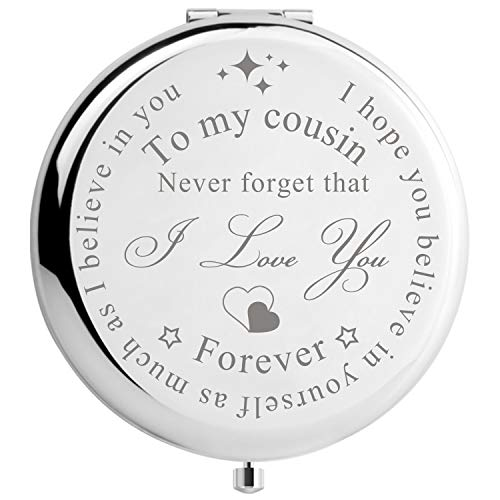 Cousin Gifts for Women Christmas Birthday Compact Makeup Mirror, Unique Gifts for Cousin Sister Makeup Mirror (I Love You Cousin)