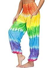 Nuofengkudu Femme Harem Pantalon Yoga Sarouel Legers Hippie Baggy Léger Ethnique Calqué Smockée Taille Haute avec Poches Été Plage