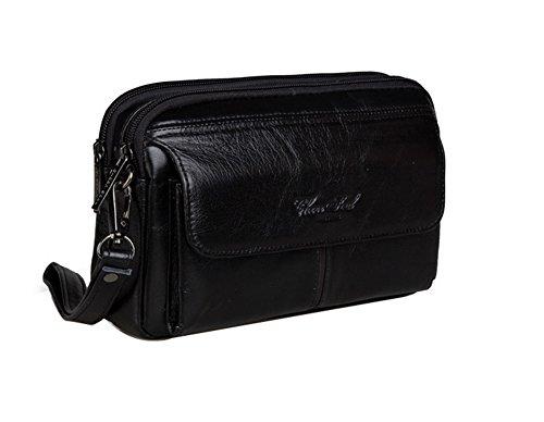Genda 2Archer Mini Bolso de Mano del Vuero del Bolso de la Motocicleta para los Hombres (23cm * 7cm * 14cm) (Negro)