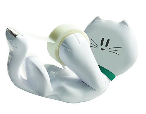 Scotch CAT-810 - Dispensador de cinta adhesiva (incluye 1 rollo de cinta, 19 mm x 8.9 m), color blanco, diseño de gato