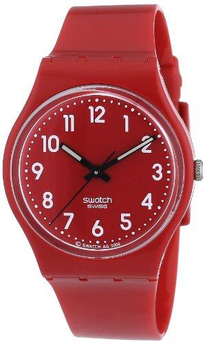 Swatch Colour Code Coll. CHERRY-BERRY GR154 - Reloj unisex de cuarzo, correa de caucho color rojo