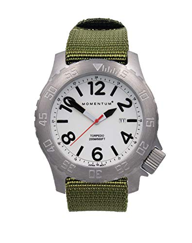 Momentum Men's Torpedo Dive Watch | 200M/600FT Water Resistant | Stainless Steel Case (Mineral Crystal, Luminous | Green Web NATO)