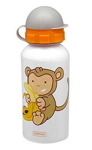 NERTHUS FIH 257 - Botellín de agua infantil a prueba de fugas, bote de agua para niños, con dibujo de mono, 400 ml