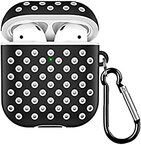 Sports Soft Dual-Layer Silicone Dotted Case Cover With Anti-Lost Hook For Apple Airpods 2&1 (Front LED Visible) - Black/White