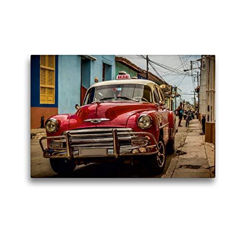 CALVENDO Premium Textil-Leinwand 45 x 30 cm Quer-Format Kuba Nostalgie: Oldtimer in Trinidad, Leinwanddruck von Krueger Photography