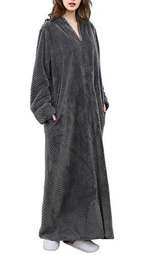 DSNOW Damen Winter Flanell Bademantel Flauschiges Fleece Morgenmantel Frottee Saunamantel (Grau, L)