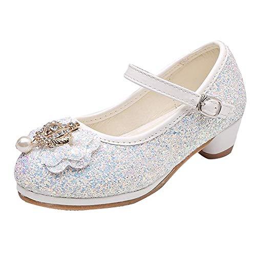 Mädchen Prinzessin Schuhe Für Kinder Gelee Partei Absatz-Schuhe Glitzer Paillette Ballerina Stöckelschuhe Weiß 34 EU
