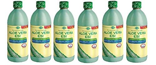 ESI - Aloe Vera zumo, máxima fuerza, 6 envases de 1000 ml, depurativa, polisacáridos mín. 7000 mg/litro.