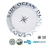 Brunner: Melamin-Geschirr Campinggeschirr (Antislip), 4 Personen (16 Teilig), Blue Ocean Lunch Box, Grill Und Picknick - 3