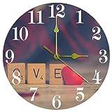 Ezioly, orologio da parete vintage con scritta 'Love', silenzioso, al quarzo, funzionamento a batteria, per casa, cucina, ufficio, scuola