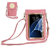 Niedliche Handy-Geldbörse mit Touchscreen, kleine Umhängetasche, Schultertasche für Samsung Galaxy S20 S10 A51 A50 A30S A10S, Motorola Moto G8+ Plus G8 Power G7 G6 E6 E5 Play Z4, OnePlus 7 6T (Pink)