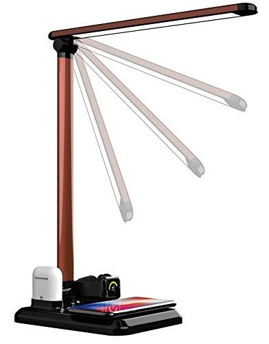 Ledlux2019 Lampada Da Scrivania A Led Nera - Smart Per Studiare Lavoro Con Ricarica Wireless 4in1 Da Tavolo Ufficio Design Per Bambini E Adulti Rgb