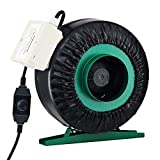 TERRADISE 4 Inch Inline Duct Fan, 203cfm Exhaust Intake Fan with Variable Speed Controller, Grow Tent Ventilation and Air Circulation Fan, Vent Blower Ventilation Fan for Greenhouses Basements