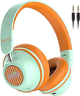Active Noise Cancelling Headphones, SuperEQ S2 Bluetooth Headphone On Ear with Mic CVC 8.0,Deep Bass, Voice Assistant, 25H Playtime, Foldable Wireless & Wired Headphones for Travel Work (Orange Green) from Supereq