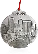"""Wendell August Indianapolis Skyline Ornament – Hand-Hammered Aluminum City Skyline of Indianapolis - Made in USA Tree Decoration, 3.125 x 3.5"""""""