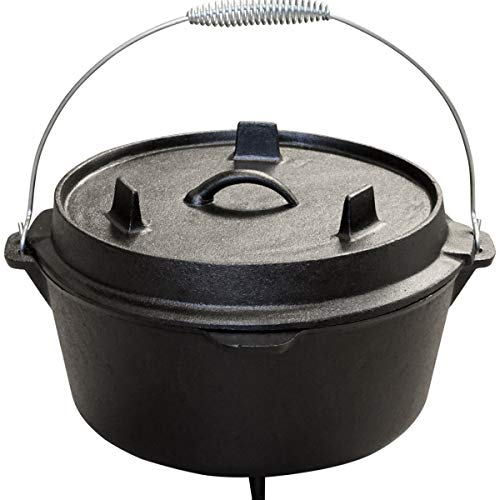 CAGO Premium Dutch Oven 6 qt mit Füßen Schmor-Topf Feuertopf BBQ Camping