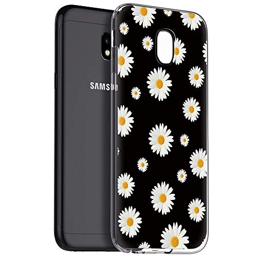 Pnakqil Funda Samsung Galaxy J3 2017, Silicona Transparente con Dibujos Diseño Slim TPU Antigolpes Ultrafina de Protector Piel Case Cover Cárcasa Fundas para Movil Samsung GalaxyJ3, Margarita Blanca