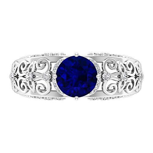 Anillo vintage de zafiro azul de 7 mm, D-VSSI Moissanite Pave Anillo, oro macizo filigrana anillo para mujer, 18K Oro blanco, Size:EU 61
