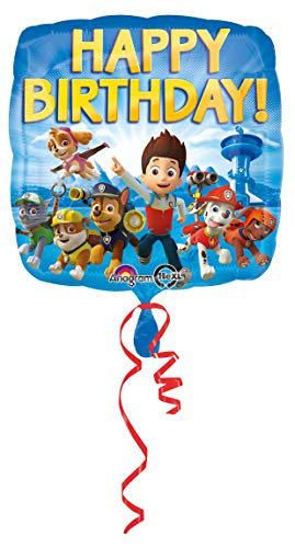 amscan 3018001 Folienballon Paw Patrol Happy Birthday, Mehrfarbig