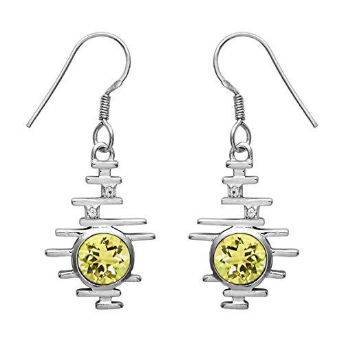 Ronda de opción múltiple Forma de piedras preciosas de plata de ley 925 Pendiente colgante colgante clásico de plata (Cuarzo limón)