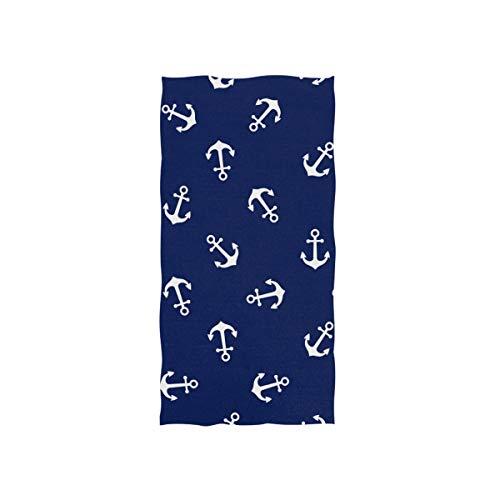 Linomo Toalla de mano con diseño de ancla náutica, toalla de algodón para cara, toalla para niños, niñas, niños y adultos