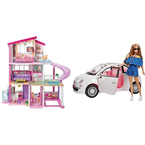 Barbie Casa dei Sogni per Bambole con 8 Stanze, Garage, Scivolo, Piscina &FVR07 Bambola con Fiat...