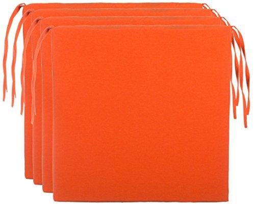 Brandsseller Cojín para silla,monocolor, con 4cordones para un agarre seguro, microfibra, naranja, 4er-Vorteilspaket