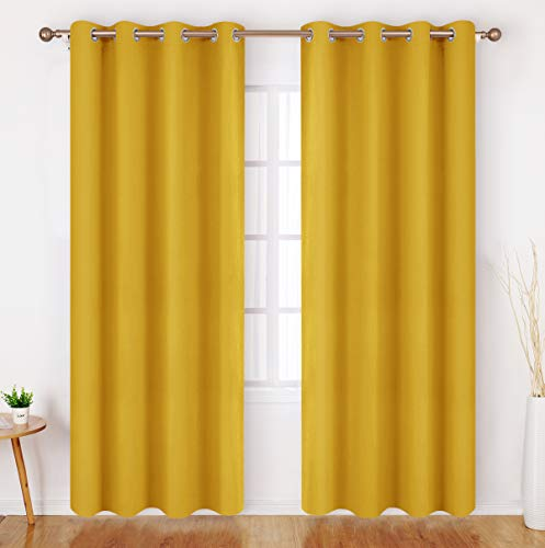 HOMEIDEAS Blackout Curtains 52 X 84 Inch Long Set of 2 Panels Mustard Yellow Room Darkening Bedroom Curtains/Drapes, Thermal Grommet Light Blocking Window Curtains for Living Room
