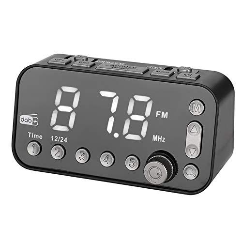 Goshyda Despertador Despertador Radio FM con Pantalla Grande, Reproductor de música Negro portátil Radio Despertador con Brillo de 3 Niveles Ajustable