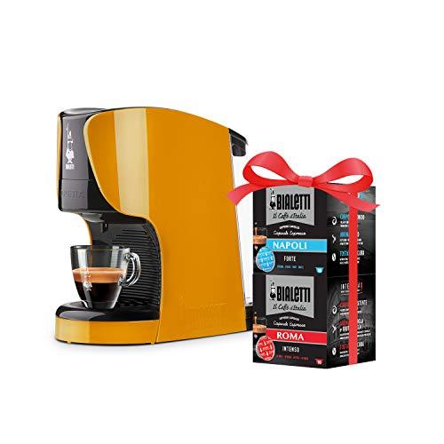 Bialetti Opera Macchina Espresso Alluminio Sistema caffè d'Italia, 15 Bar, Ocra + 32 Capsule Omaggio, 1450 W