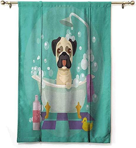 Gordijn Kwekerij Collectie Pug Hond In Badkuip Grooming Doggy Puppy Salon Service Shampoo Rubber Eend Huisdieren Cartoon Afbeelding Thermische Geïsoleerde Blok Uit Zonlicht schaduw, W122 X H183 CM/48X72 Inch