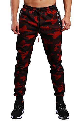 EKLENTSON - Pantaloni da jogging da uomo, stile militare, con cerniera, tasche aderenti, pantaloni sportivi, colore: rosso nero