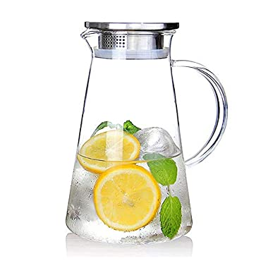 2.0 Liter 68 Ounces Glass pitcher with lid covered gallon iced tea pitcher lidded water jug hot cold water ice tea wine coffee milk and juice beverage carafe