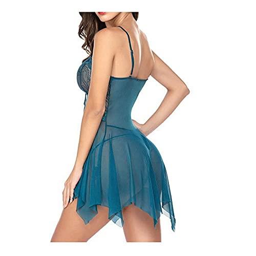 WemaSoo6 Conjuntos Ropa Interior Mujer, Bodys sexys Mujer lencería Sexy Mujer Picardias Lenceria erótica Mujer Sexy Abierta Entrepierna(Color Azul Tinta) (Size : Large)